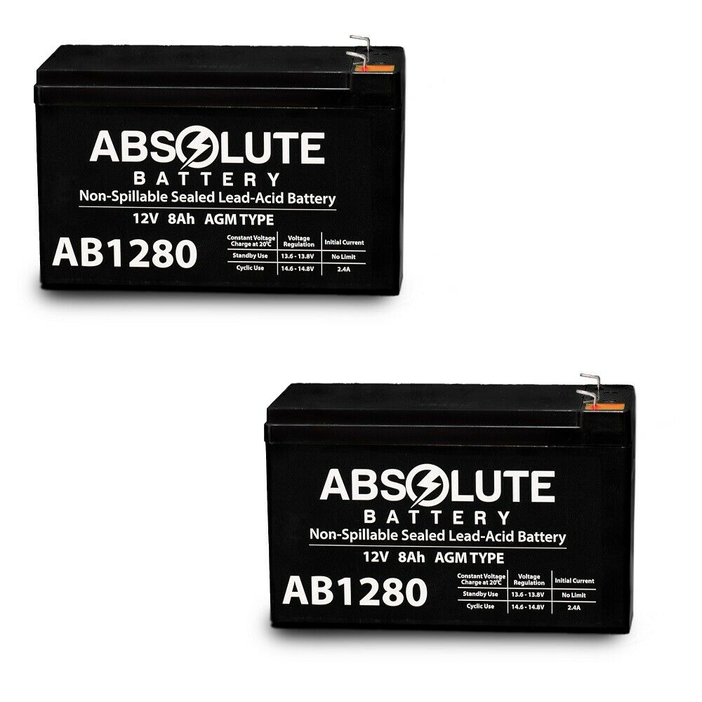 NEW 2 PACK 12V 8AH AB1280 F1 Battery Replacement for Honeywell GE Bosch.