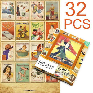 Retro-Vintage-Postcards-Advertising-Bulk-Lot-32-PCS-Cards-Set-Posters-Art-Kit
