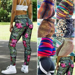 5f55b3e346867 Image is loading Women-High-Waist-Yoga-Pants-Sports-Print-Leggings-