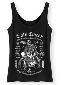 CAFE-Racer-Canotta-Donna-Scheletro-Biker-Moto-Pilota-Vest