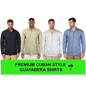 Men-039-s-Beach-Guayabera-Casual-Cuban-Wedding-Button-Up-Long-Sleeve-Dress-Shirt