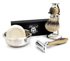 Vintage safety razor Double edge Blade shaver & Badger hair shaving brush kit