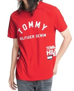 Tommy-Hilfiger-Men-039-s-T-Shirt-Red-Size-XL-Logo-Printed-Graphic-Tee-39-104