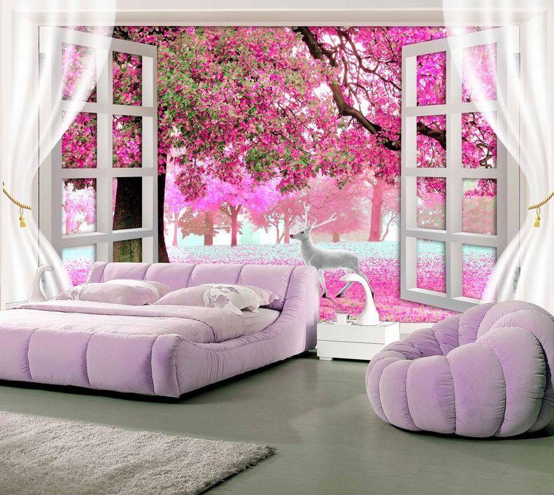 3D Arbre Fenêtre 67 Photo Papier Peint en Autocollant Murale Plafond Chambre Art