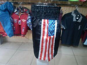 MEXICO//USA Flags Black Elastic Belt Boxing Shorts Trunks Boxing Training Fitness