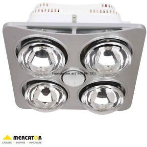 Mercator Ardene Quattro Bathroom 3 In 1 Heater Exhaust Fan Light Silver Bs124csw Ebay