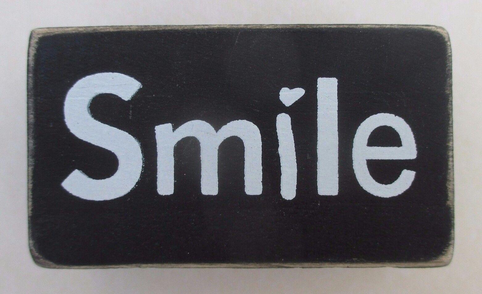 P Smile Word Blocks Wood Home Decor Distressed Block