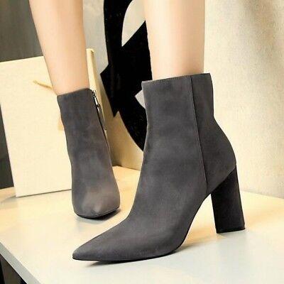 Dettagli su stivali bassi tacco 8.5 cm grigio fashion eleganti pelle sintetica 9472