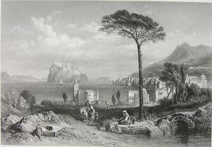 Italy-Mediterranean-ISCHIA-COAST-TOWN-GULF-NAPLES-1858-Art-Print-Engraving-RARE