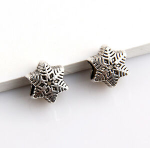 18pcs-Zinc-alloy-nice-snowflake-charms-big-hole-beads-5mm