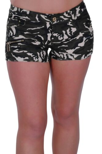 Womens Army Camouflage Casual Skinny Fit Stretch Extra Mini Micro Shorts Pants