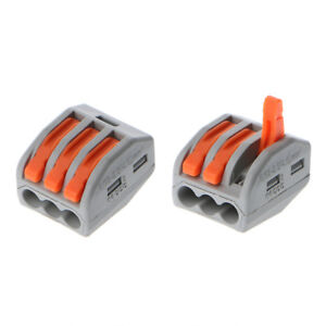 10PCS 3 Way Reusable Spring Lever Terminal Block Electric Cable Wire ...
