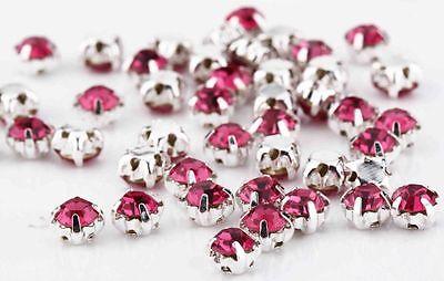 100 4.3mm SEW ON CERISE PINK Silver Set Glass Crystal DIAMANTE Rhinestones Dress