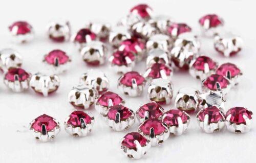 100 4.3mm à coudre ROSE CERISE Argent Set Verre Cristal strass fausses pierres
