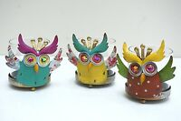 Colorful Metal Crown Owl Candle Holders Owl Lover's Decor Set Of 3