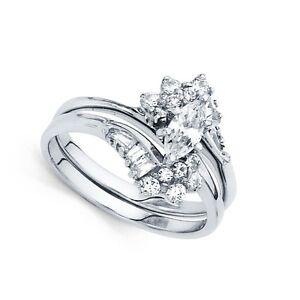Image Is Loading Marquise CZ Engagement Ring Amp Wedding Band 14k