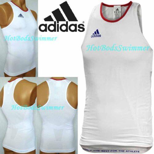 O93545 France Athletics Team Adidas Men/'s Fit Singlet White//Blue//Red