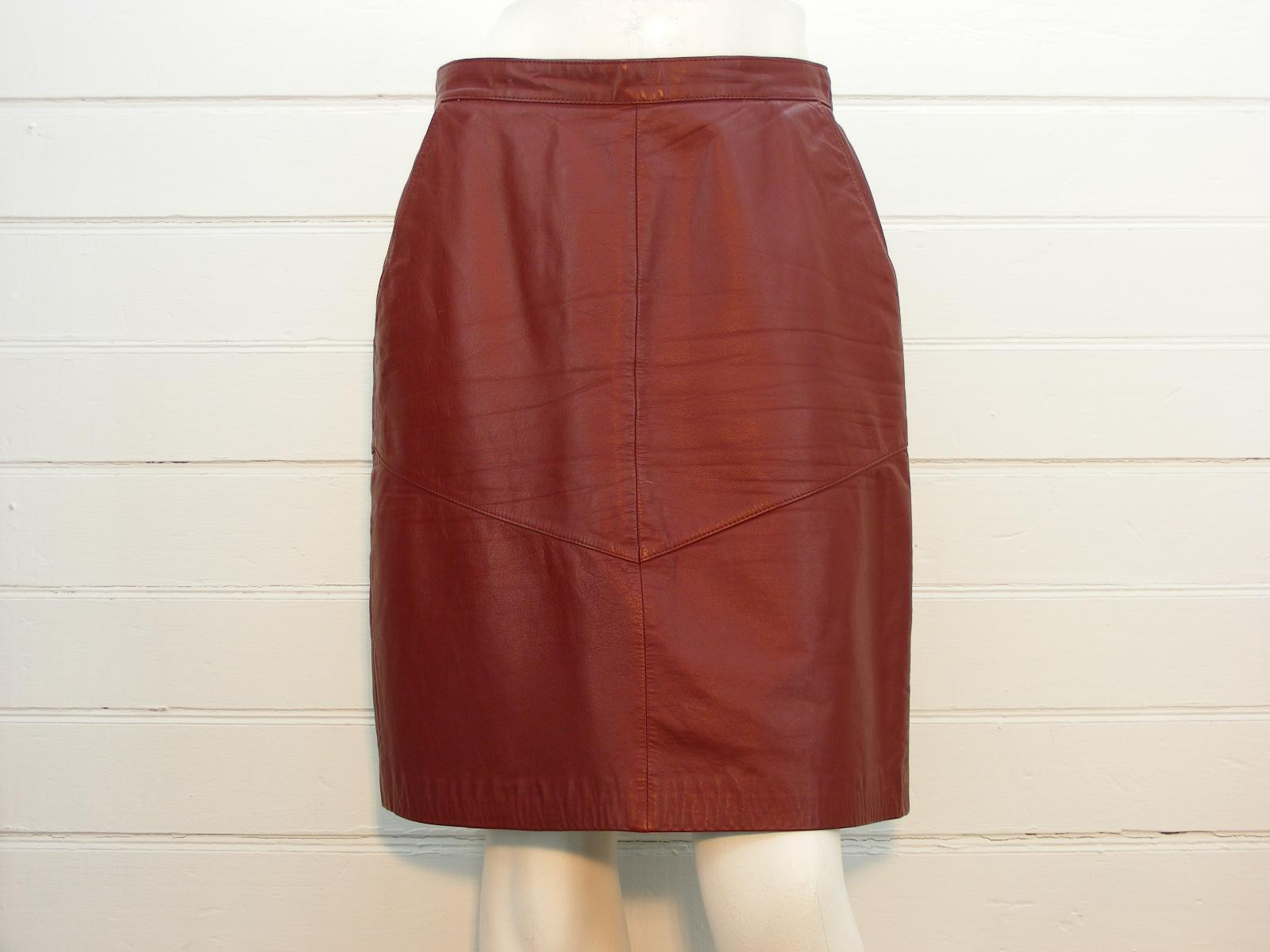 EVAN DAVIES Skirt Burgundy Real Leather LINED Below Knee, Sz 14 - W30