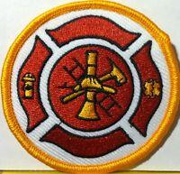 Fire Department Firefighter Logo 002 Iron-on Patch Emblem Gold Border