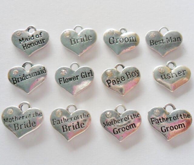 4 WEDDING CHARMS Pendants, Bridesmaid, Flowergirl, Rhinestone Hearts 16mm x 14mm