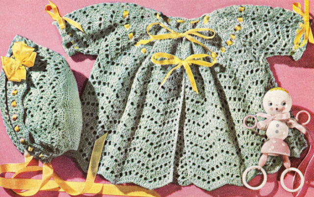 Vintage Crochet PATTERN to make Baby Sacque Sweater Jacket Squares CrochetMotif