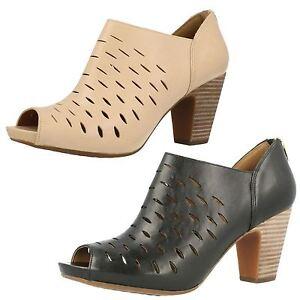 Detalles de Mujer clarks Okena Elegante Cremallera Punta Abierta Tacón Cuero Pantalón Shoes