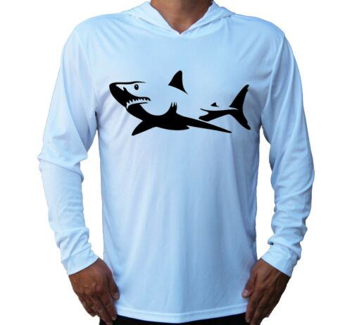 Shark Fish Fishing Boat Beach Sport UV Protected UPF 50 Long Sleeve T-Shirt Hood