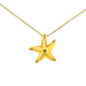 271829523 Tiffany & Co. Elsa Peretti 18k Yellow Gold Starfish Pendant Necklace ...