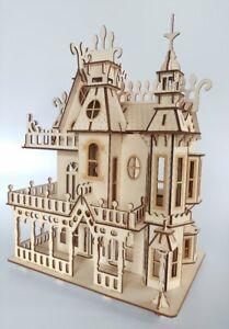 Diligent En Bois Maison De Poupées Gothique Victorien Maison De Poupée Décorative Artisanale En Bois Kit Ou Construit-afficher Le Titre D'origine
