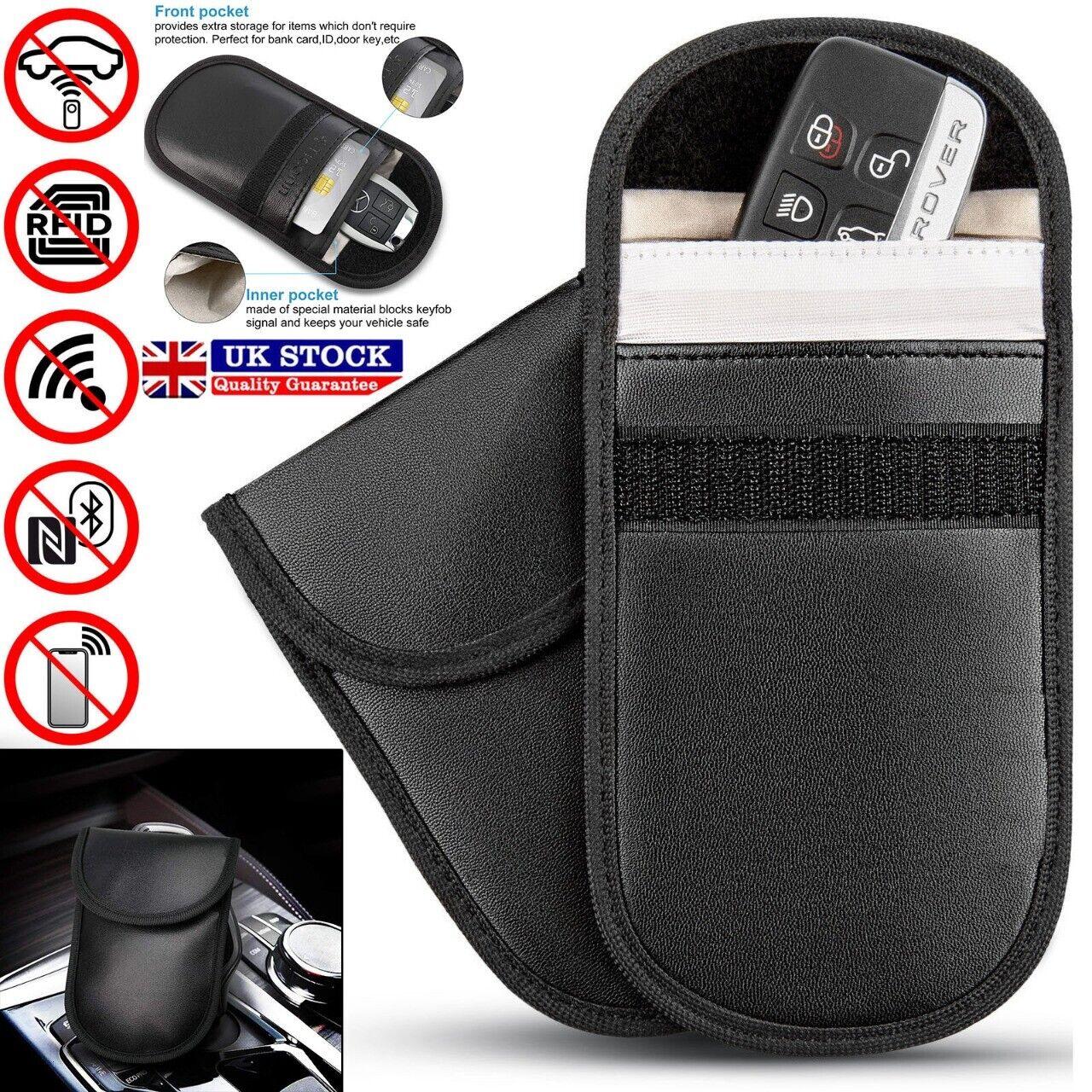 2 x Car Key Signal Blocker Case Faraday Cage Fob Pouch Keyless RFID Blocking Bag 2