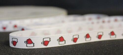 Santa hat 10mm father christmas festive xmas gift cake craft decorative ribbon