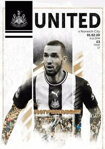 NEWCASTLE-UNITED-v-NORWICH-2020-Premier-League-Programme-Free-UK-Postage