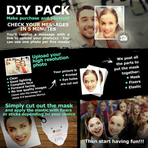 Assembled Or DIY Personalised Photo Face Masks Stag Party Birthday Wholesale