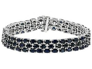Bracelet-Black-Spinel-3-Row-Sterling-Silver-Oval-cut-Platinum-over-8-034-Inch-Long