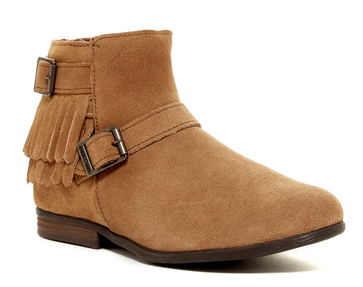 NEW MINNETONKA RANCHO TAUPE ANKLE BOOTIES BOOTS SUEDE BOOTS Donna 8