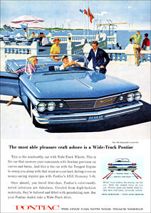 PONTIAC 60 BONNEVILLE CONVERTIBLE RETRO A3 POSTER PRINT FROM ADVERT 1960