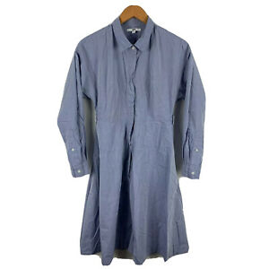 Uniqlo-Womens-Dress-Size-Small-Blue-Grey-Long-Sleeve-Collared-Button-Closure
