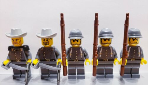 Lego WESTERN AMERICAN CIVIL WAR Dark Bluish Gray CONFEDERATE Soldiers Minifigs