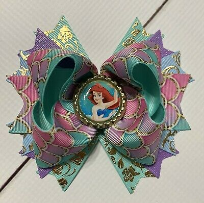"5"" Princess Jasmine Stacked Boutique Hair Bow Handmade"