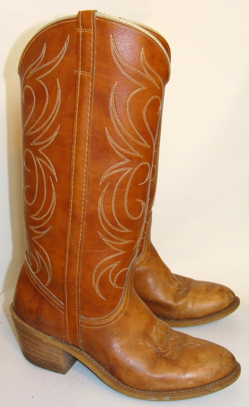DINGO WOMENS TALL TAN LEATHER COWBOY BOOTS SIZE 6.5M  C111