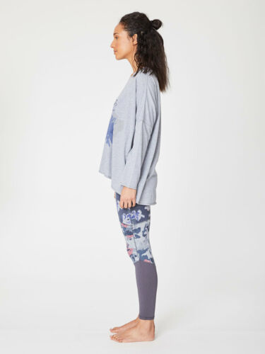 Thought Blue Grey Floral Long Sleeve Top Baggy Boxy Style Patterned Bamboo Tee