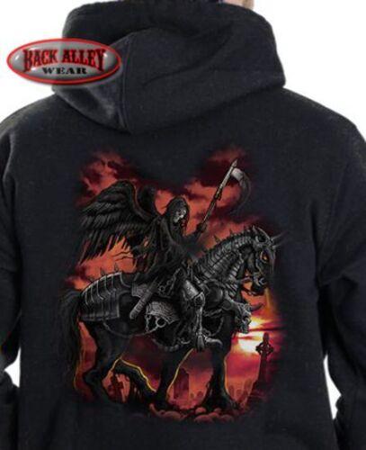 DEATH RIDER Hooded Sweat Shirt M-3XL Hoodie ~ Grim Reaper on War Horse ~ SKULL