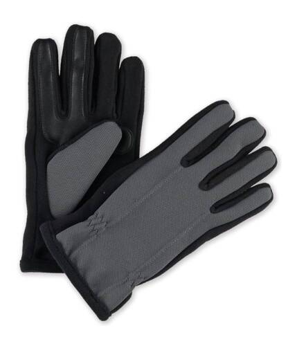 $120 Isotoner Mens Gloves Gray Black Fleece Touchscreen Athletic Winter Size L