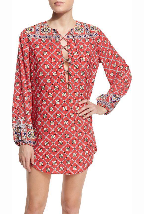 NEW Nanette Lepore Pretty Tough Printed Lace Up Tunic Swimwear cover up S Small