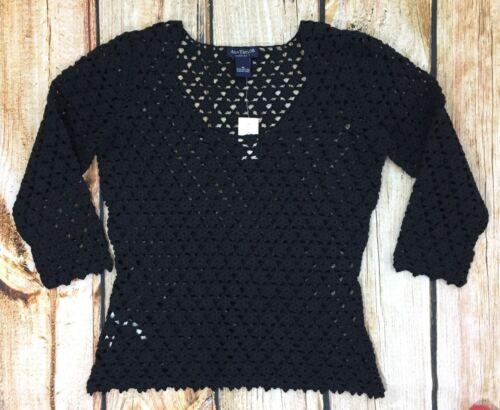M Handknit Nwt Eyelet Taylor Black Ann Størrelse Kvinder Sweater 6B64rfW