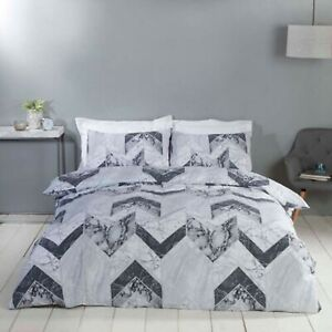 Duvet-Cover-Set-Single-Cotton-Bed-Set-Grey-White-Marble-Geometric-Bedding-Set