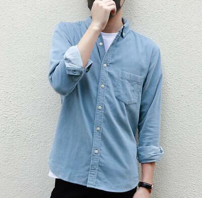 Men/'s Long Sleeve Corduroy Cord Shirt Casual Loose Button-Down Top Coats