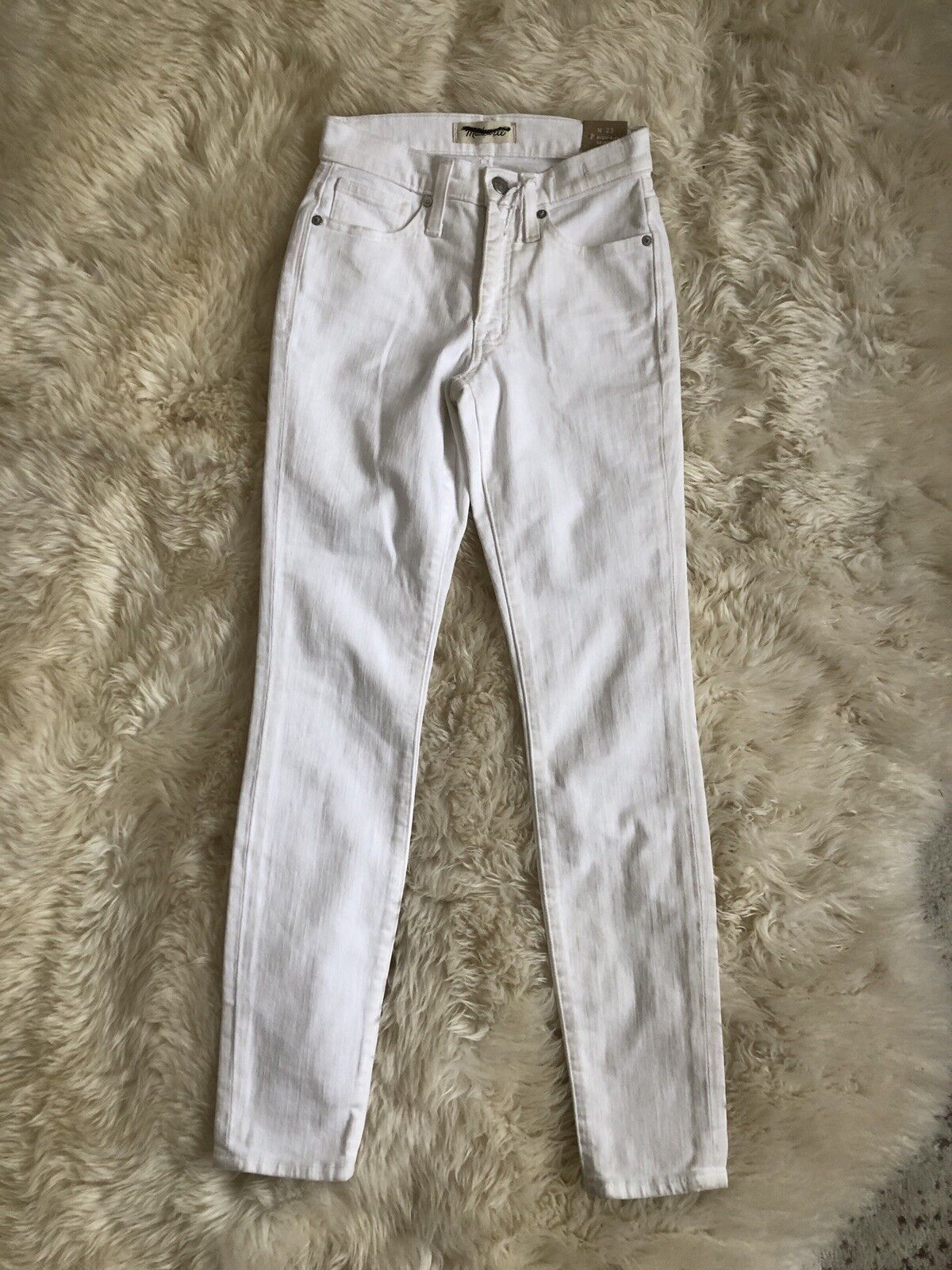 New Madewell 9  High-Rise Skinny Jeans in Pure White Sz 23 H5769