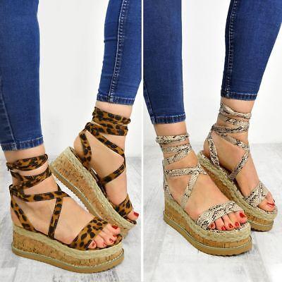 Womens Ladies Leopard Snake Wedge Flatform Espadrille Sandals Lace Tie Up Summer | eBay