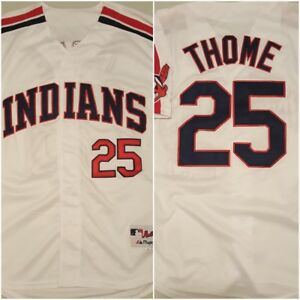 check out 25d50 0e28e Details about Throwback Jim Thome Cleveland Indians Replica White Baseball  Jersey Size LARGE